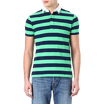 RALPH LAUREN Custom-fit striped polo shirt (Tiller green/ea