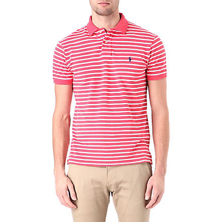 RALPH LAUREN Custom-fit striped polo shirt (Crosby red/clas