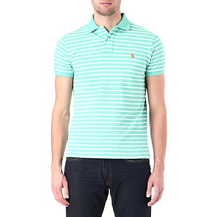 RALPH LAUREN Custom-fit striped polo shirt (Key west green/
