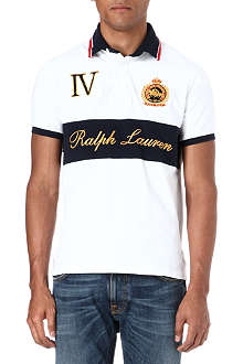 RALPH LAUREN Embroidered twill-collar rugby shirt