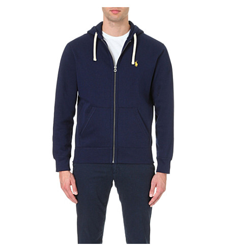 POLO RALPH LAUREN Waffle-lined jersey hoody (Cruise+navy