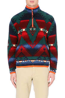 RALPH LAUREN Flannel zip collar jumper