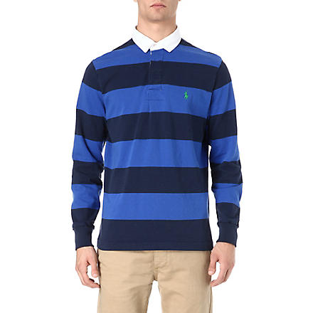 RALPH LAUREN Striped cotton polo shirt (Cruise navy/cru
