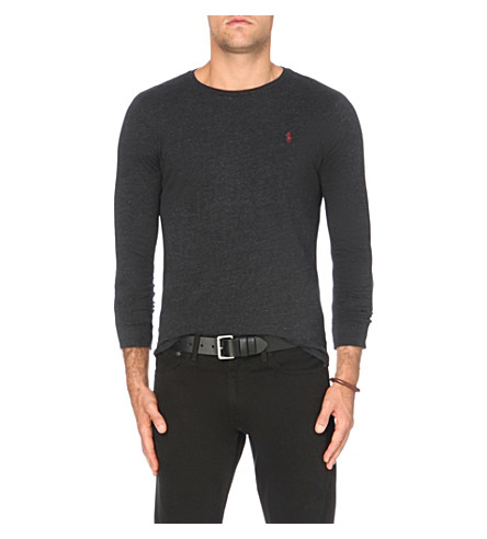 POLO RALPH LAUREN Custom-fit cotton-jersey top (Black+marl+heat