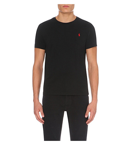 POLO RALPH LAUREN Logo-embroidered cotton-jersey t-shirt (Black