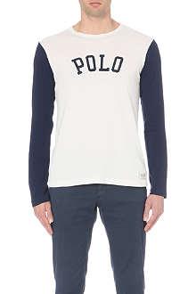 RALPH LAUREN Colourblocked cotton-jersey top
