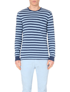 RALPH LAUREN Striped long-sleeved cotton top