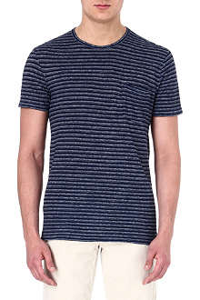 RALPH LAUREN Striped linen-blend t-shirt
