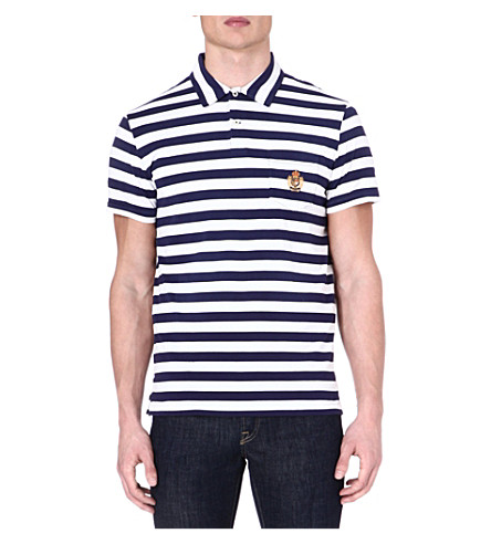 RALPH LAUREN Custom-fit striped polo shirt (Flag blue/deckw