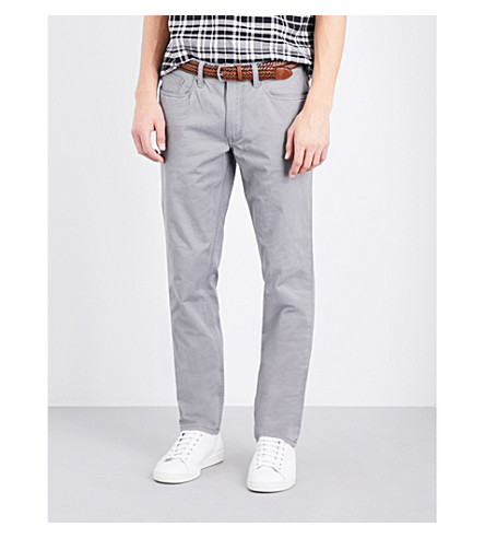 POLO RALPH LAUREN Slim-fit straight-cut stretch-cotton trousers (Metallic+grey