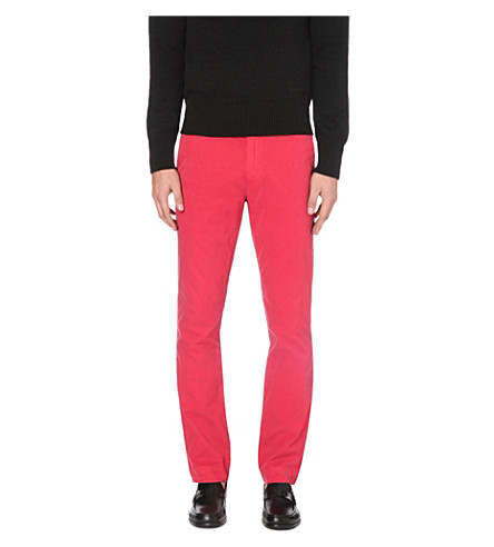 POLO RALPH LAUREN Newport slim-fit tapered cotton trousers (Red/wht