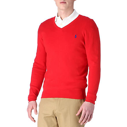 RALPH LAUREN Pima-cotton slim-fit jumper (Brilliant+red