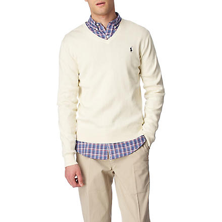 RALPH LAUREN Pima-cotton slim-fit jumper (Buff