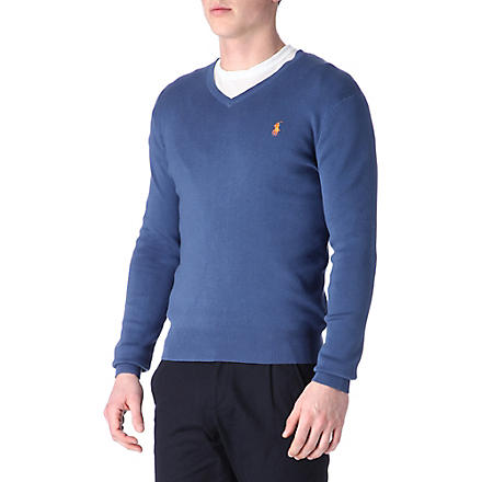 RALPH LAUREN Pima-cotton slim-fit jumper (Evening+blue