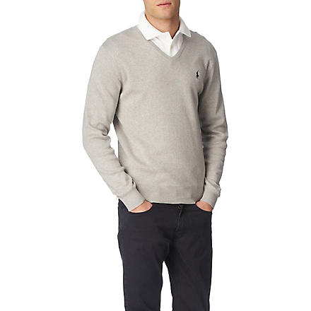 RALPH LAUREN Pima-cotton slim-fit jumper (Light+grey+heat
