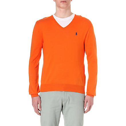 RALPH LAUREN Slim-fit v-neck jumper (Marigold
