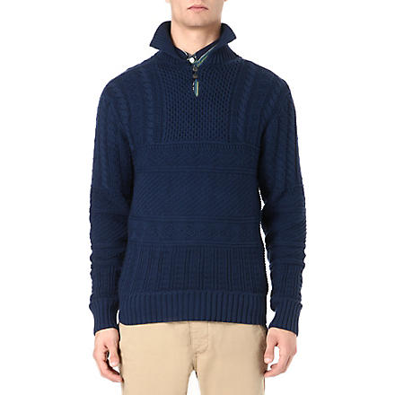 RALPH LAUREN Cable knit stand collar jumper (Navy