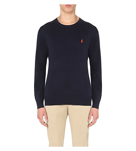 POLO RALPH LAUREN Logo-embroidered cotton-jersey top (Hunter+navy