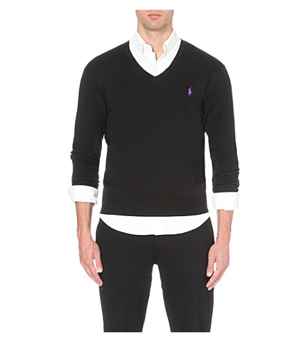POLO RALPH LAUREN Slim-fit knitted cotton jumper (Black