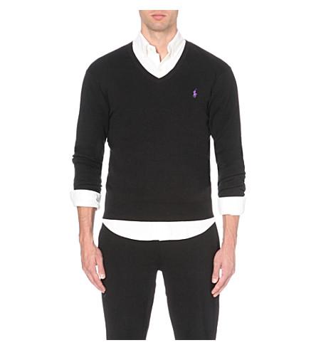 POLO RALPH LAUREN 修身版型针织棉毛衣 (黑色