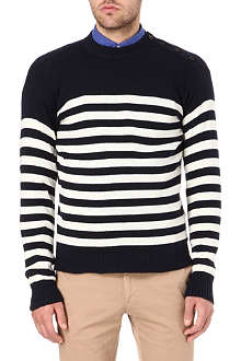 RALPH LAUREN Striped buttoned-shoulder jumper