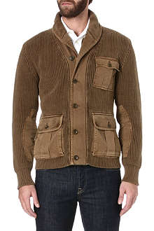RALPH LAUREN Shawl-collar ribbed-knit cardigan