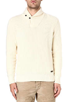 RALPH LAUREN Cotton knit shawl-neck jumper