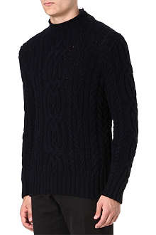 RALPH LAUREN Cable-knit mock-neck jumper