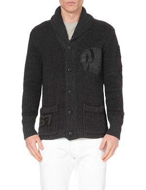 RALPH LAUREN Native American-embroidered knitted cardigan