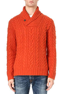 RALPH LAUREN Shawl neck cable knit jumper
