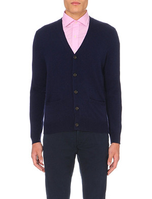 RALPH LAUREN Long-sleeved elbow-patch wool cardigan