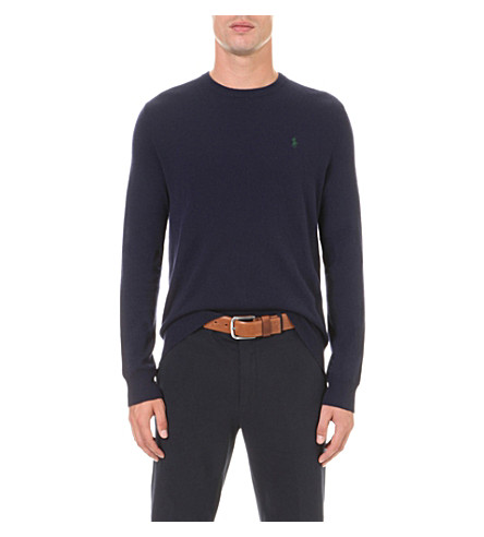 POLO RALPH LAUREN Embroidered-logo wool jumper (Hunter+navy