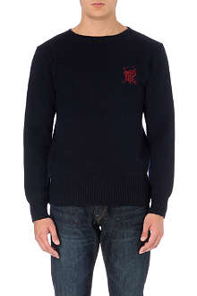 RALPH LAUREN Crest-embroidered knitted jumper