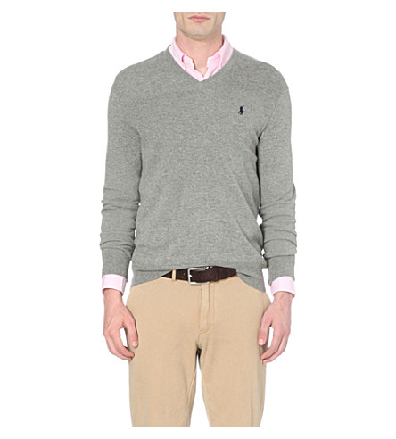 POLO RALPH LAUREN V-neck wool sweater (Fawn+grey+heath