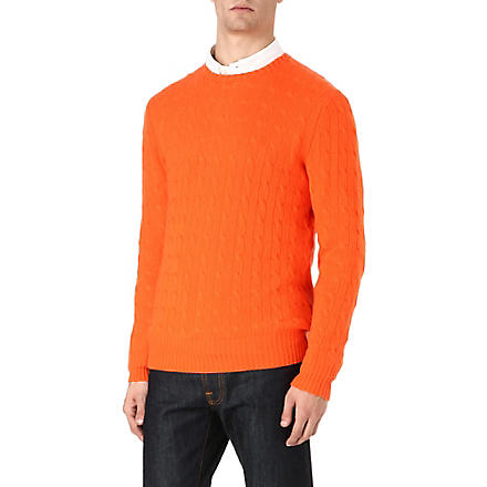 RALPH LAUREN Cable-knit jumper (Cadmium+orange