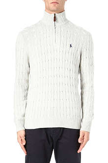 RALPH LAUREN Tussah silk zip-neck jumper