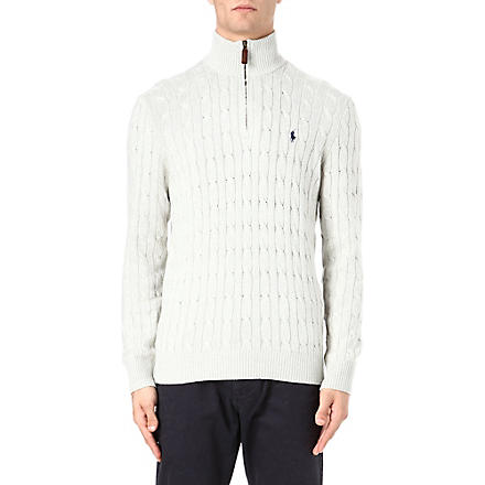 RALPH LAUREN Tussah silk zip-neck jumper (Lt grey h'ther