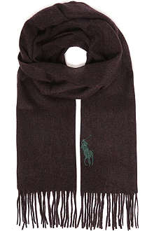 RALPH LAUREN Big polo player logo wool scarf