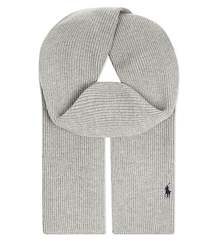 POLO RALPH LAUREN Ribbed merino wool scarf (Fawn+grey+heath