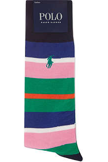 RALPH LAUREN Striped cotton-blend socks
