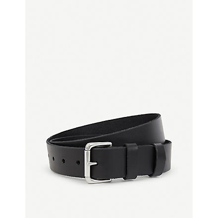RALPH LAUREN Double-keeper leather belt (Black