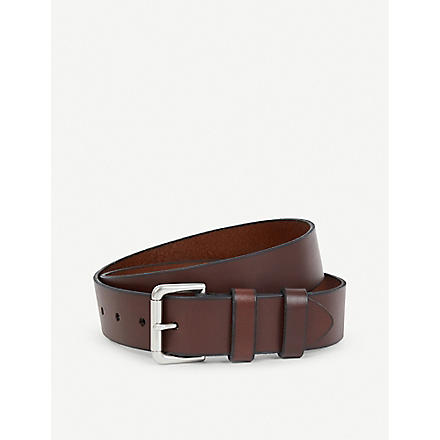 RALPH LAUREN Double-keeper leather belt (Brown