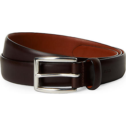 RALPH LAUREN Embossed-logo belt (Brown
