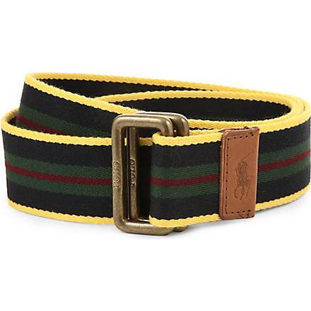 RALPH LAUREN Classic web striped belt (Gld/navy/frs/wh
