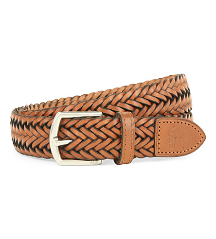 POLO RALPH LAUREN Braided leather belt (Black/white
