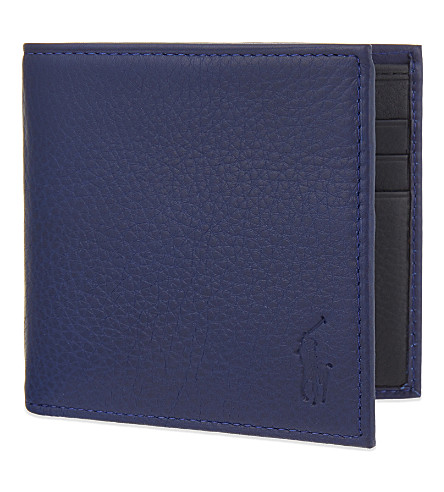 POLO RALPH LAUREN Pony-embossed leather wallet (Blue
