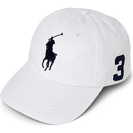 RALPH LAUREN Sun-washed Big Pony baseball cap (White/obs blue