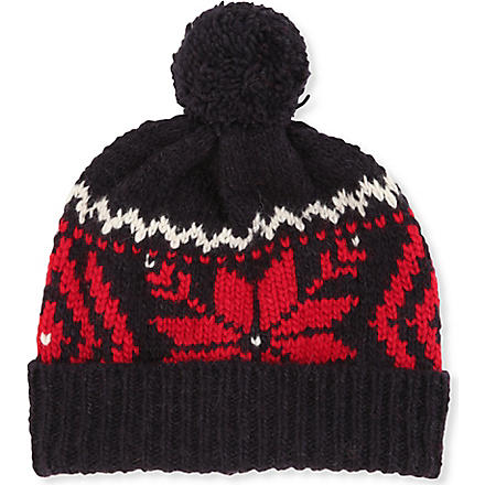 RALPH LAUREN Wool-blend Snowflake hat (Navy