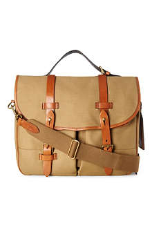 RALPH LAUREN Canvas and leather messenger bag