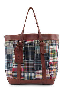 RALPH LAUREN Cotton Madras and Leather tote